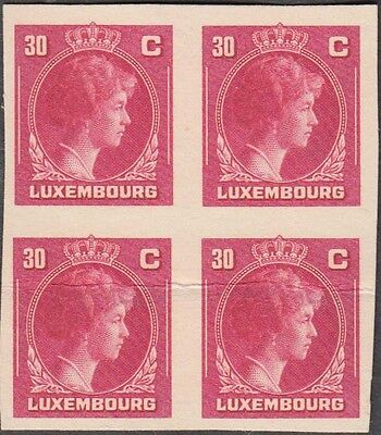 LUXEMBOURG 1944 CHARLOTTE 30c CARMINE RARE IMPERF PROOF BLOCK OF 4