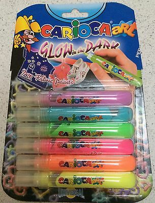 CARIOCA ART GLOW-IN-THE-DARK FABRIC PENS, PACK OF 6 COLOURS. Blister pack 1of 2