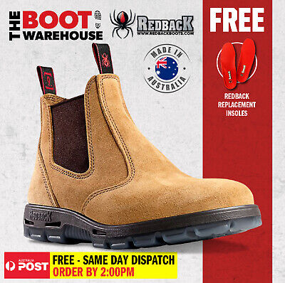 Redback Work Boots USBBA Steel Cap Safety. Elastic Sided Bobcat Banana Suede