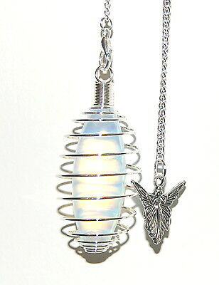 Large Powerful OPALITE CRYSTAL PENDULUM in spiral cage wth Angel Charm