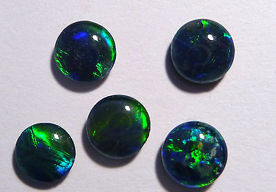 5 Pretty Blues and Greens Australian Opal Triplets, 6mm rounds