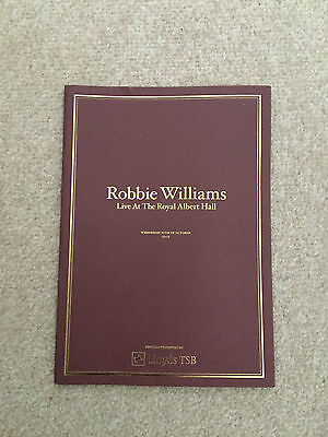 Robbie Williams Albert Hall Program Swing Take That Barlow