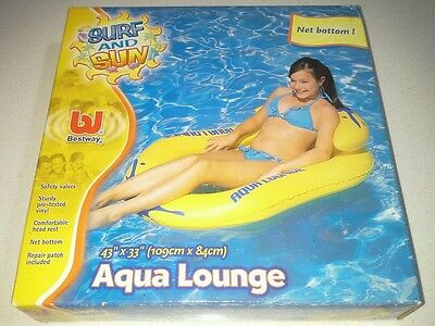 Inflatable Aqua Lounge 109cm long x 84cm wide, with Head Rest, for Beach or Pool