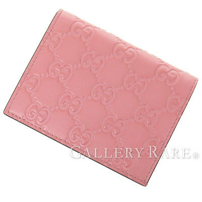 GUCCI Card Case Signature Leather Pink 410120 Italy Authentic 3913680