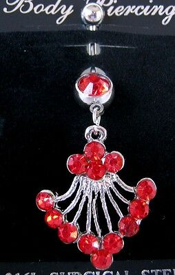 NEW 1 x 316L Surgical Steel Long Belly Bar Body Jewellery RED Rhinestones