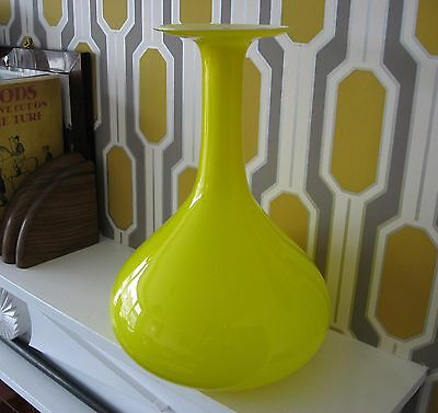Unusual shape yellow and white lined glass vase