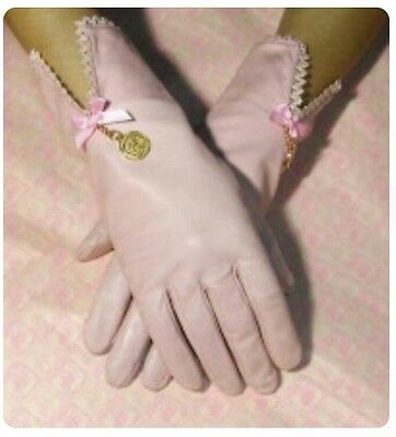 Fifi Chachnil Designer Boudoir Kid Leather Pink Vintage Style Gloves 7.5 NEW