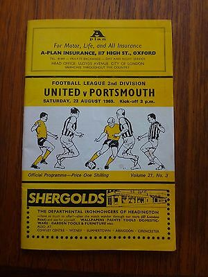 Oxford United v Portsmouth Programme 1969 plus League Review- Leeds centrefold