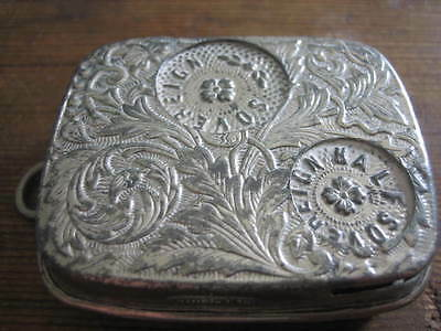 silver plate edwardian sovereign case watch chain case ornate