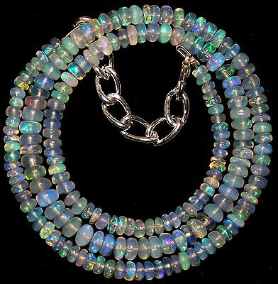 56 Crt 1 Strand 3.5 mm to 5 mm 17.4 Natural Ethiopian Opal Gemstone Beads 0026