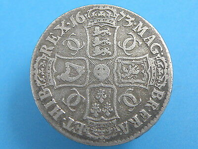1673 King Charles II - SILVER CROWN COIN - QVINTO Edge - High Value