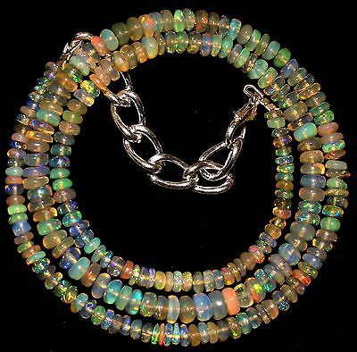 44 Crt 1 Strand 3 mm to 4.5 mm 16.2 Natural Ethiopian Opal Gemstone Beads 0027