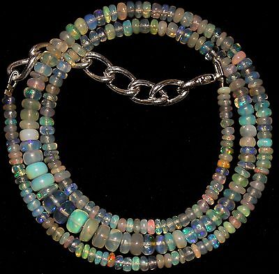 43 Crt 1 Strand 3 mm to 6 mm 16.7 Natural Ethiopian Opal Gemstone Beads 0037