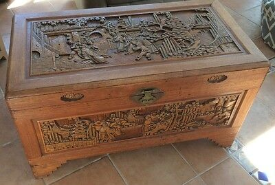 Carved Oriental Blanket Chest Storgage Trunk ~ Bedroom Seat ~ Coffee Table ~