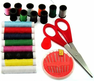 Hand Sewing Supplies Accessories Set With Threads Scissors Needles & Case