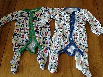 6 x Baby Boys Baby Grows, Age 0-3 Months
