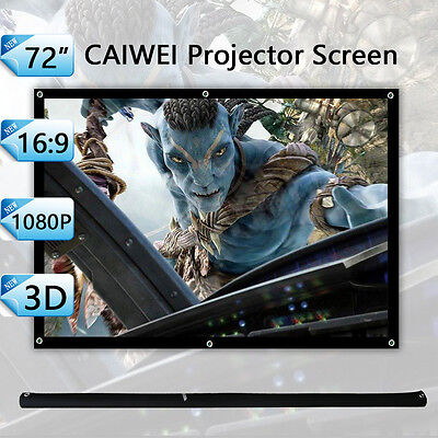 """HD 72"""" Inch Portable Projector Screen Home Outdoor Projection Matte White 16:9"""