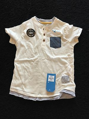 brand new with tags boys cream and blue top age 2-3 years