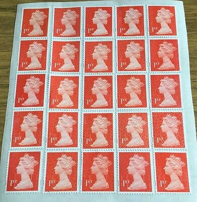 100 Red 1St Class Security Stamps Unfranked With Gum Peel & Stick