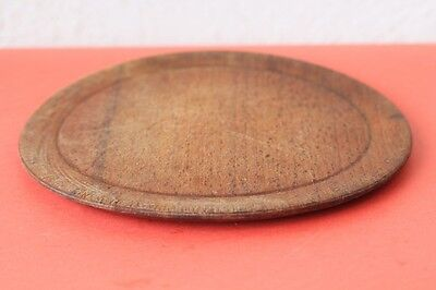 Old Antique Authentic Primitive Hand Carved Wooden Treenware Round Plate . #1