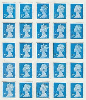 100 Blue 2Nd Class Security Stamps Unfranked With Gum Peel & Stick