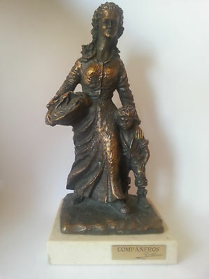 """Extremely Rare """"Compañeros"""" Copper Sculpture on Marble Base by Rinor (Signed)"""