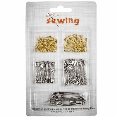 SEWING MARKING SAFETY PINS GOLD & SILVER COLOR IN 5 VARIOUS SIZES 100pcs