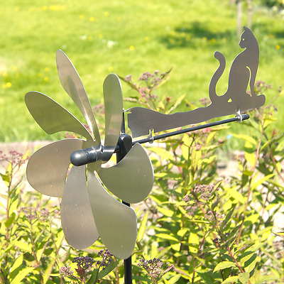 Cat silhouette Metal Wind Spinner - Brushed Stainless Steel Made in Germany