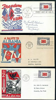 USA 1943 FDC Overrun Nations WW2 Albania LOT