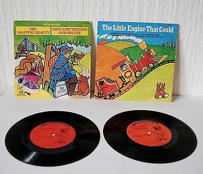 """Vintage Set Of Four Collectible 'mr Pickwick Children'S' 7"""" Records"""