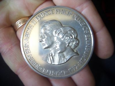 Silver Large Medallion 1972 Silver Wedding Medal  Stunning Clearance  Find