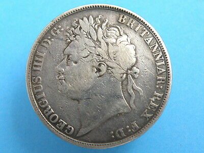 1821 King George IV - SILVER CROWN COIN - SECONDO Edge Version - Good Coin
