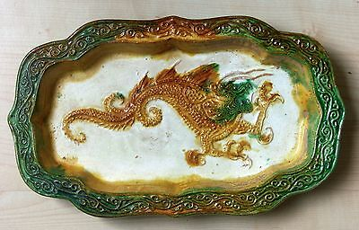 Chinese sancai-glazed pottery quatrefoil Dragon dish from the Liao Dynasty