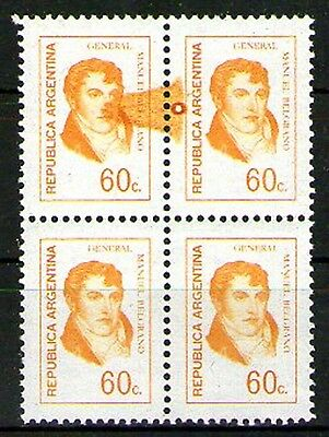 ARGENTINA 1974 GJ 1629 block of 4 MNH color stain error variety