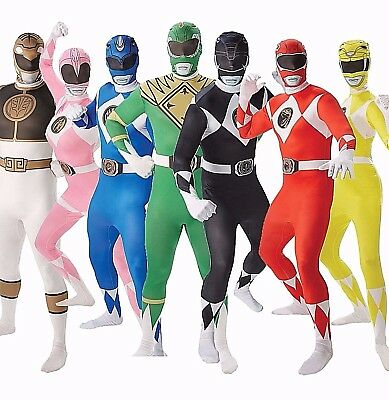 Adult POWER RANGERS Fancy Dress Costume Mighty Morphin Outfit 2nd Skin Mens Lady