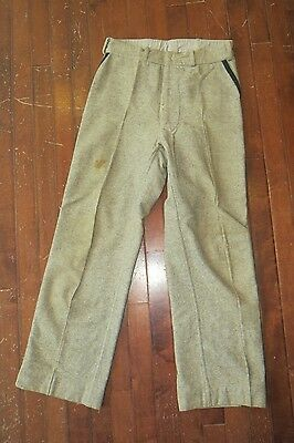 Vintage 40s Gray Wool Mens 28 x 28 Button Fly Uniform Work Pants
