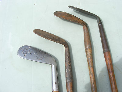 4 Vintage Antique Hickory Shaft Golf Club Irons