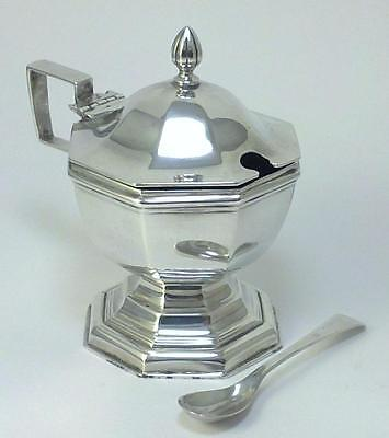 Antique hallmarked Sterling Silver Mustard Pot, Glass Liner & Spoon – 1902