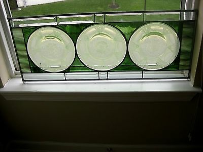Vintage Antique Green Depression Glass Plates Stained Glass Window Panel UNIQUE