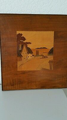 Vintage Inlaid Large Marquetry picture. Framed countryside cottages haycart.