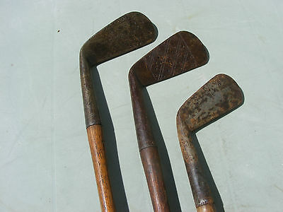 3 Vintage Antique Hickory Shaft Golf Club Irons