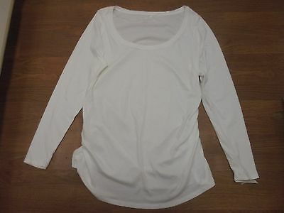 NWT Liz Lange Maternity white long sleeve t-shirt with shirred sides size XXL