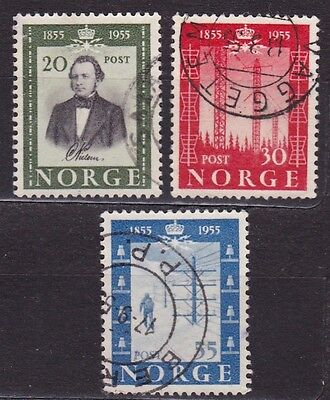 NORWAY #334-336 USED CENTENARY OF 1st NORWEGIAN PUBLIC TELEGRAPH LINES
