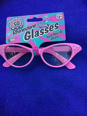 Ladies 1950's Grease style Fancy Dress Accessory Pink Glasses