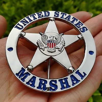 Obsolete United States Metal Badge Round Silver Uniform Cosplay Collection Acc