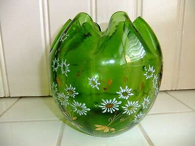 Antique Victorial Bohemian Green Glass Vase