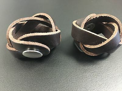 Scout Woggle - Brown Leather Plaited Woggle with press stud