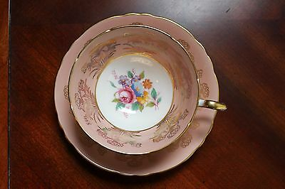 Paragon Dusty Rose Salmon Border With  Floral Pattern China Tea Cup & Saucer