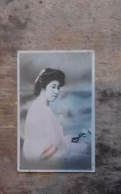 A Japanese Beauty (with Flowers) org Postcard c1920 vgc