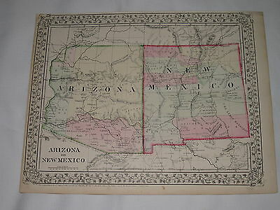 "Mitchell's Atlas Map of Arizona and New Mexico Has Date 1867 at Bottom 15"" x 12"""